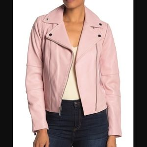 Michael Kors 100% Leather Blush Pink Moto Jacket